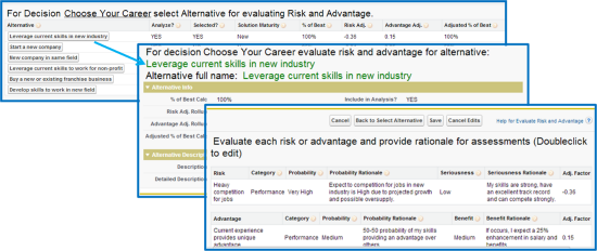 Risk evaluation screen