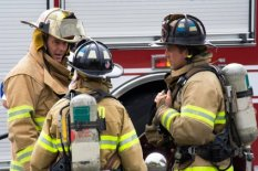 Firefighters discussing strategy