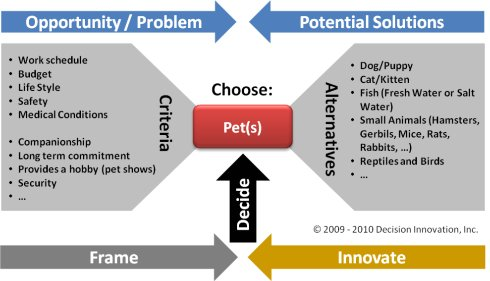 Graphic of criteria and alternatives of the pick a pet decision