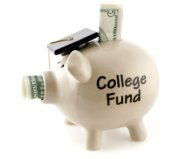 Image of piggy bank with college fund written on it