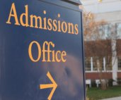 Image of university admissions office sign