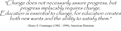 Image of a quote on eduction from Henry Commager