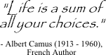 Life is a sum of all your choices. - Albert Camus