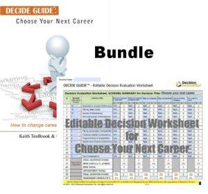 Image of career decision making tool worksheet and ebook bundle
