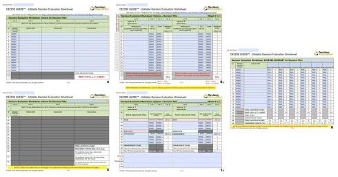 Image of decision analysis tools worksheet