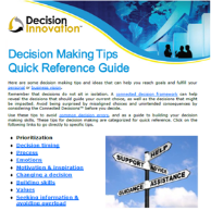 Image of decision making tips quick reference guide