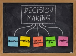 Decision making on chalkboard