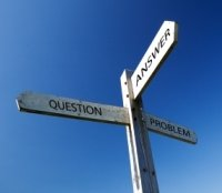 Image of question, answer, problem signpost