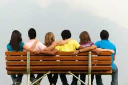 Image of friends on bench