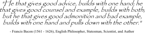 Francis Bacon quote on giving and using advice